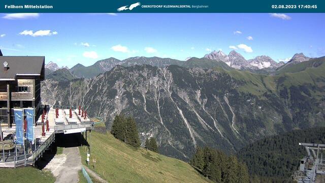 Webcam mit Blick auf die Mittelstation des Fellhorns in Oberstdorf